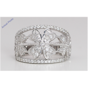 18k White Gold Round Cut Modern classic flower style diamond ring (0.85 Ct, H-i Color, SI2-I1 Clarity)