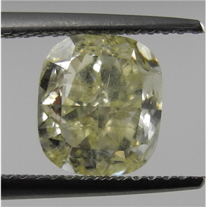 Cushion Cut Loose Diamond (1.71 Ct, Natrual Fancy Yellow ,VS2(Clarity Enhanced)) IGL Certified