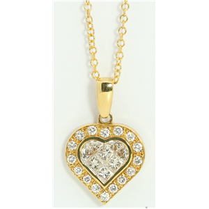 18k Yellow Gold Princess & Round heart elegant modern classic dress diamond pendant(1.05 ct, H, VS)