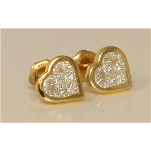 18k Yellow Gold Princess Invisible Setting heart fashionable modern classic diamond earrings (0.68 Ct, H, VS)