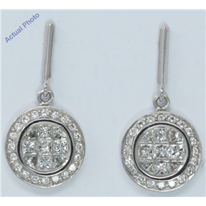 18k White Gold Princess & Round elegant circular modern classic Earrings with set bezel(1.6 ct, H, VS)