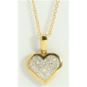 18k Yellow Gold Princess Invisible Setting heart stylish modern classic diamond pendant (1 Ct, H , VS )
