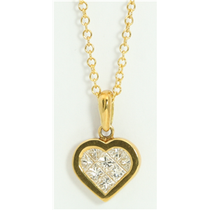 18k Yellow Gold Princess Invisible Setting heart fashionable modern classic diamond pendant (0.49 Ct, H, SI1)