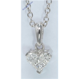 18k White Gold Three Stone Princess Invisible delicate heart modern classic diamond pendant(0.33 ct, H, VS)