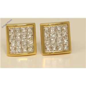 18k Yellow Gold Princess elegant modern classic rectangular dress diamond earrings(2.06 ct, H, VS)
