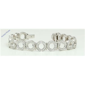 18k White Gold Round Cut Retro circle style elegant diamond dress bracelet (3.01 Ct, H Color, VS Clarity)