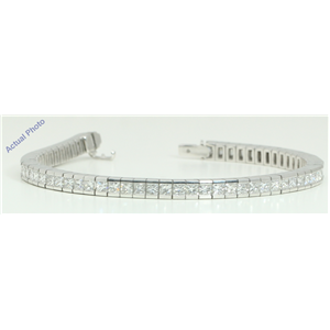 18k White Gold Princess Cut Modern elegant classic diamond tennis bracelet (12.06 Ct, H Color, VS Clarity)
