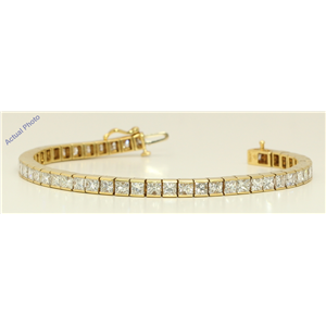 18k Yellow Gold Princess Cut Modern elegant classic diamond tennis bracelet (12.51 Ct, K Color, VS Clarity)