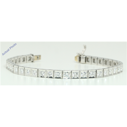 18k White Gold Round Cut Fifties style luxury diamond tennis bracelet (4.75 Ct, H Color, VS Clarity)