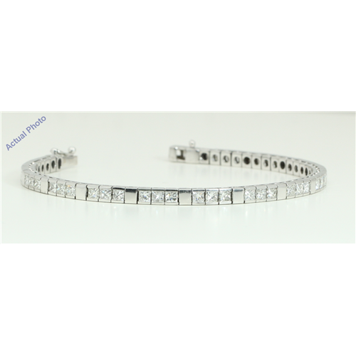 18k White Gold Princess Cut Cool modern contemporary diamond tennis bracelet (7.03 Ct, H Color, SI Clarity)