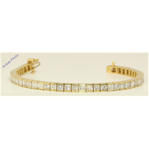 18k Yellow Gold Emerald Classic cocktail vintage style diamond tennis bracelet (10.2 Ct, H Color, VS Clarity)