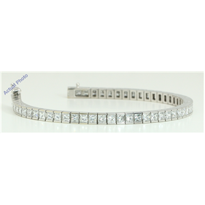 18k White Gold Princess Cut Modern elegant classic diamond tennis bracelet (12.1 Ct, H Color, VS Clarity)