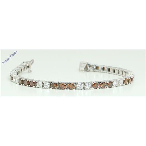 18k White Gold Round Contemporary bi- classic diamond tennis bracelet (10.62 Ct, Brown , Si1 )