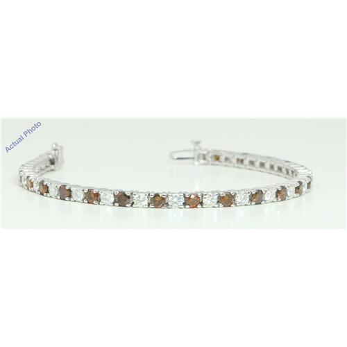18k White Gold Round Contemporary bi-color classic diamond tennis bracelet (9.22 Ct, Brown Color, I1 Clarity)