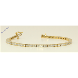 18k Yellow Gold Princess Cut Contemporary chic classic diamond tennis bracelet (3.31 Ct, H Color, VS Clarity)