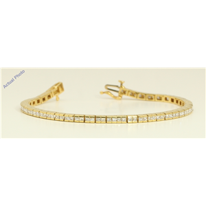18k Yellow Gold Princess Contemporary chic dress classic diamond tennis bracelet (3.5 Ct, H , SI )