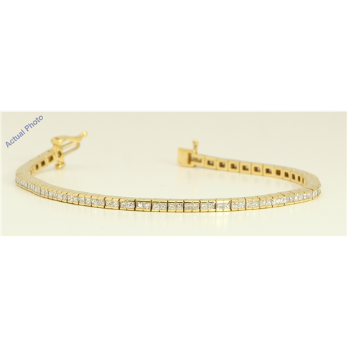 18k Yellow Gold Princess Contemporary chic dress classic diamond tennis bracelet (3.52 Ct, H , VS )
