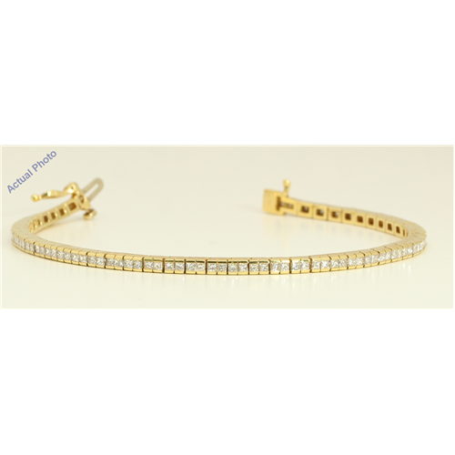 18k Yellow Gold Princess Contemporary chic dress classic diamond tennis bracelet (3.51 Ct, H , VS )