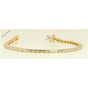 18k Yellow Gold Princess Contemporary chic dress classic diamond tennis bracelet (3.53 Ct, H , VS )