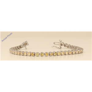 18k White Gold Round Chic floral modern classic link diamond tennis bracelet (3.1 Ct, Yellow , SI )