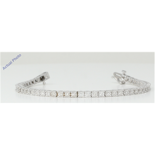 18k White Gold Round Cut Floral heartshape modern diamond link tennis bracelet (0.71 Ct, H Color, VS Clarity)