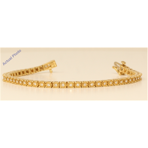 18k Yellow Gold Round Cut Floral heart shape modern diamond link tennis bracelet (0.72 Ct, H Color, VS Clarity)