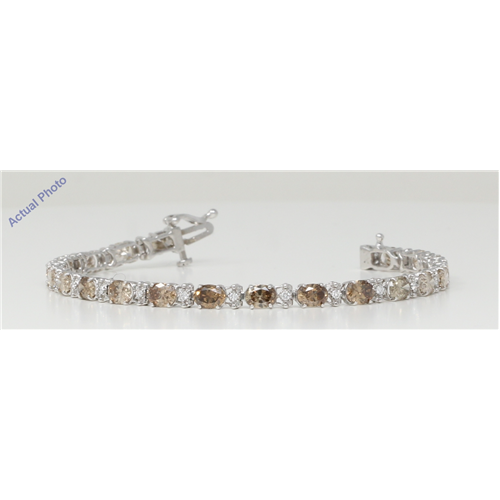 14k White Gold Oval Cut Classic Lady Di oval link diamond tennis bracelet (8.52 Ct, Brown Color, I1 Clarity)