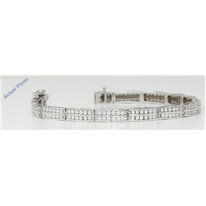 18k White Gold Round Cut Art Decor style two row diamond link bracelet (2.52 Ct, H Color, SI Clarity)