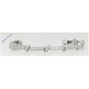18k White Gold Round Cut Art Decor style multi row pavee diamond link bracelet (2.45 Ct, H Color, SI Clarity)