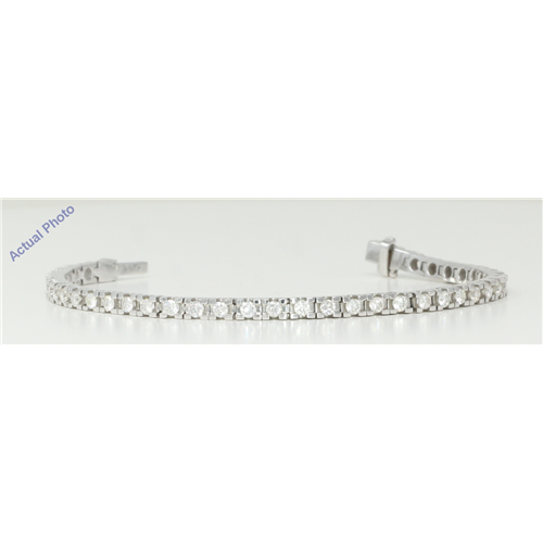 18k White Gold Round Cut Contemporary chic classic diamond link tennis bracelet (2.86 Ct, H Color, VS Clarity)