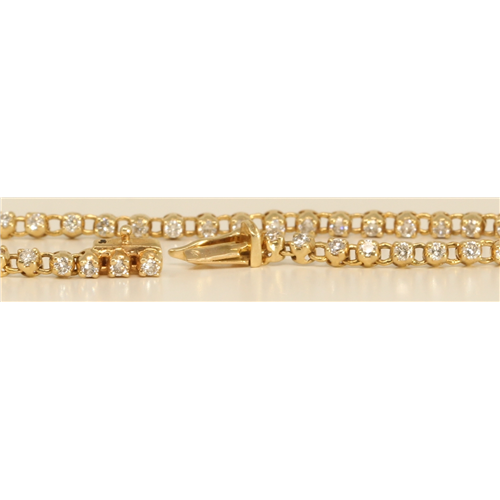 14k Yellow Gold Round Cut Petit diamond bezel cool fashion tennis bracelet (0.88 Ct, H Color, SI Clarity)