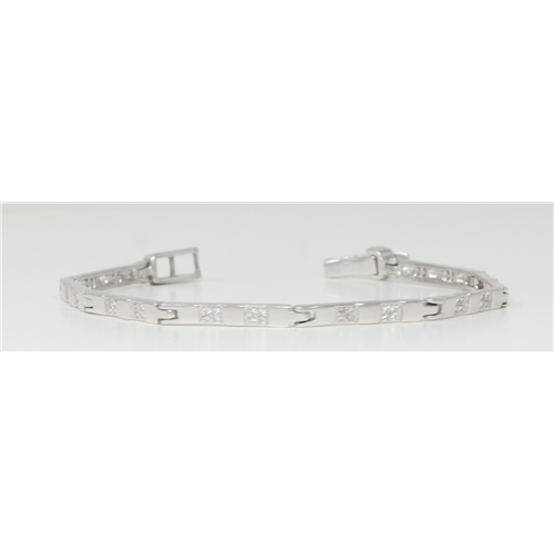 14k White Gold Round Fifties-style contemporary classic diamond link bracelet (0.6 Ct, H Color, SI2 Clarity)