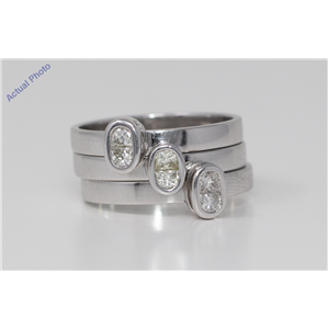18k White Gold Princess Diamond Bezel Setting Triple set modern two stone stylish rings(0.73 ct, J, SI)
