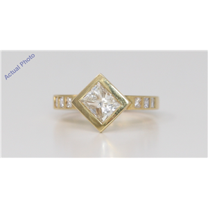18k Yellow Gold Princess Bezel Setting Contemporary square diamond engagement ring (1.3 Ct, J , VS1 )