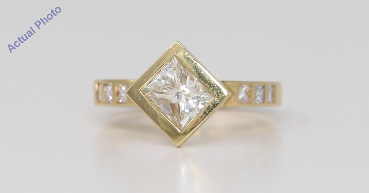 18k Yellow Gold Princess Bezel Setting Contemporary Square Diamond Engagement Ring 1 3 Ct J Vs1