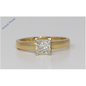 18k Yellow Gold Princess Cut Classic modern square diamond engagement ring (1.02 Ct, M Color, VS2 Clarity)