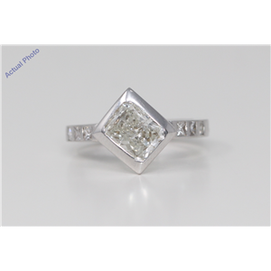 18k White Gold Radiant & Princess Bezel Setting Classic dress pavee set shoulders Ring(2.17 ct, J, SI2)