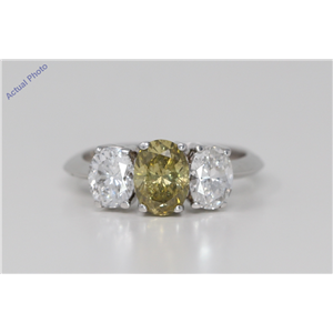 18k Gold Oval Three stone antique style diamond dress ring (2.48 ct Green-yellow & White , Si2 Clarity)
