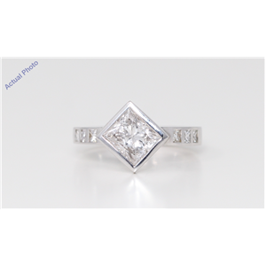 18k White Gold Three Stone Princess Classic dress pavee set shoulders diamond ring (1.92 Ct, H, VVS2 )