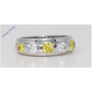 18k Gold Round Channel Setting Two tone half eternity wedding diamond band ring(1.1 ct Yellow & White, Vs)