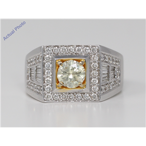18k White Gold Round Cut Classic dress signet cocktail diamond ring (2 Ct, Yellow Color, SI Clarity)