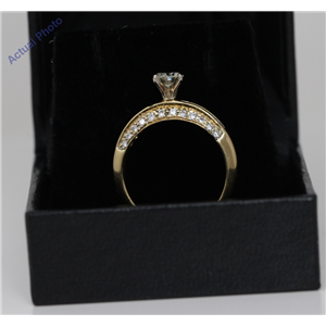 18k Yellow Gold Round Solitaire and baguette cocktail diamond engagement ring (1.55 Ct, K Color, VS1 Clarity)