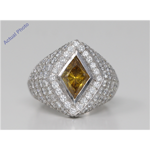 18k White Gold Kite shaped dress cocktail ed diamond ring(4.91 ct, Natural Deep Orange-yellow, SI2)