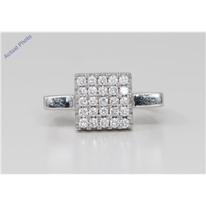18k White Gold Round Cut Modern classic square dress wedding diamond ring (0.67 Ct, H Color, VS Clarity)