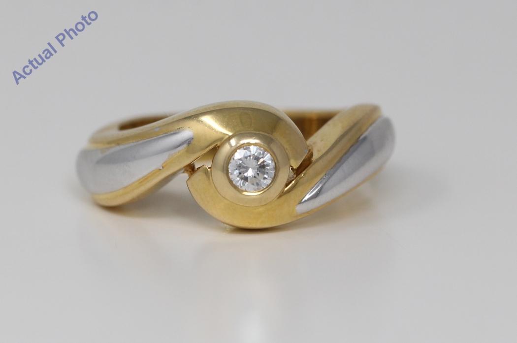 18k Two Tone Gold Round Bezel Setting Classic Modern Swirl Two Tone Diamond Engagement Ring 0 15
