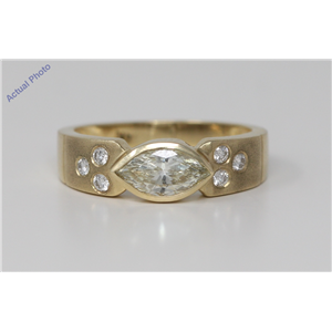 18k Yellow Gold Marquise & Round Bezel Setting Modern classic diamond Ring with set shoulders(0.82 ct, M, VS)