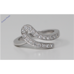 18k White Gold Round Cut Double ribbon wedding diamond ring (0.25 Ct, H Color, VS Clarity)