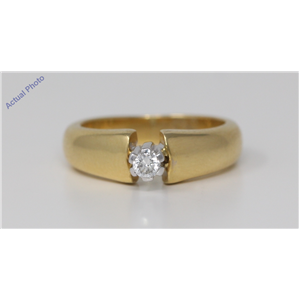 18k Yellow Gold Round Cut Solitaire classic modern diamond engagement ring (0.11 Ct, H Color, VS Clarity)