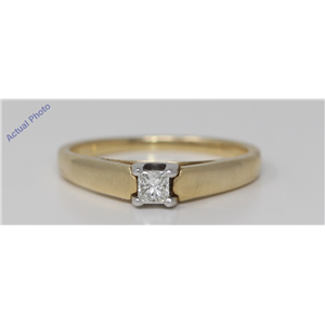 14k Yellow Gold Princess Cut Solitaire classic modern diamond engagement ring (0.25 Ct, H Color, SI Clarity)