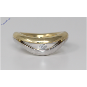 18k Two Tone Gold Round Classic modern double two tone solitaire diamond engagement ring (0.1 Ct, H , I1-I2 )